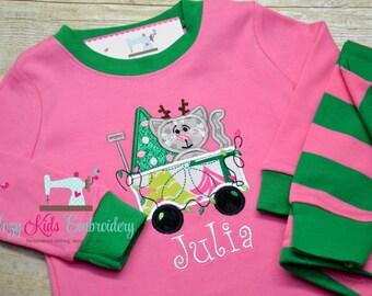 Christmas pajamas, Christmas Pajamas for Children, Kids Christmas Pajamas, Girl Christmas Pajamas, Kitty Applique Embroidery