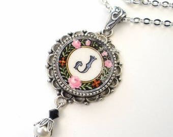 Broken China Jewelry J Monogram Necklace Initial Letter Pendant Handcrafted by Charmedware