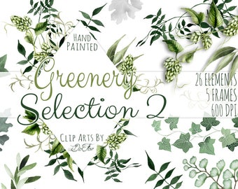 Greenery Clipart Leaves Leaf Vines Fern Watercolor Clip Art Foliage Ivy Hops Green Forest Woodland Wedding Invitation Illustration Frames