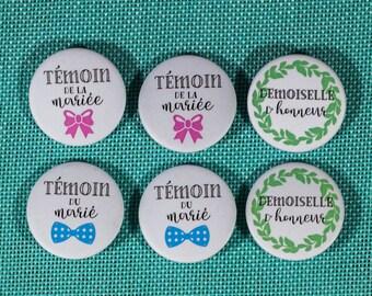 6 badges witnesses + bridesmaids wedding
