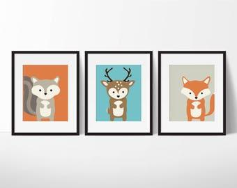 Woodland Nursery - Nursery Decor - Nursery Wall Art - Woodland Decor - Woodland Animals - Woodland Nursery Art - Nursery Prints - Nursery