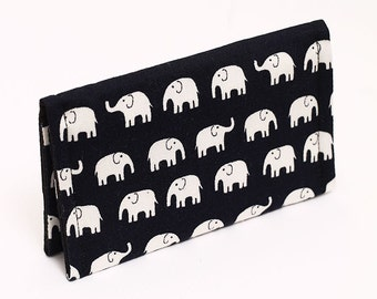 Card holder, cute mini wallet, business card case, gift card case, small animal wallet for girls - navy/black and white tiny elephants