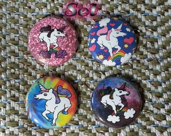 Assorted Unicorn Buttons - Set of 4