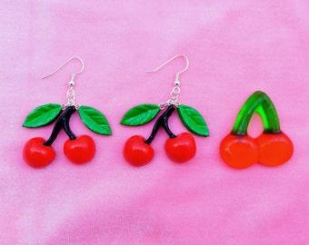Hand-painted Cherry Drop Earrings - Hypoallergenic Larme Kei Earrings - Miniature Food - Cherry Earrings -