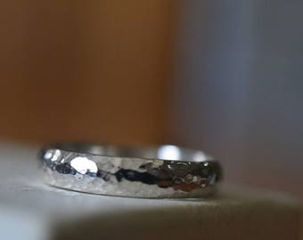 Hammered Silver Wedding Band, Personalized Rustic Engagement Band, Men's Domed Silver Ring, Customized Engraving