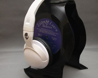 Headphone Stand from Recycled LP Records