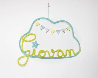 Mobile cloud knitting name and flags customizable pistachio lime jade