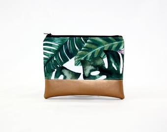 MIDI bag - copper Monstera, bag, cosmetic bag, purse, make-up bag, vegan, minimalist, pouch, pencil case,.