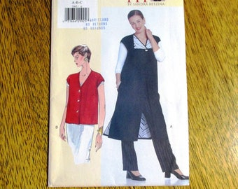 DESIGNER Minimalist Long Vest w/ Contrast Lining - Today's Fit by Sandra Betzina - Size (A - B - C) - UNCUT ff Sewing Pattern Vogue 7065