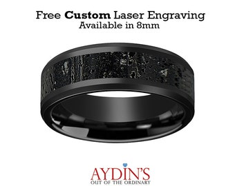 Black Ceramic Ring - Black & Gray Lava Rock Stone Inlay - Ceramic Wedding Band - Beveled - Polished Finish - 8mm - Ceramic Wedding Ring