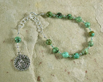 Aristaios Prayer Bead Bracelet in African Turquoise: Greek God of Excellence and Useful Arts