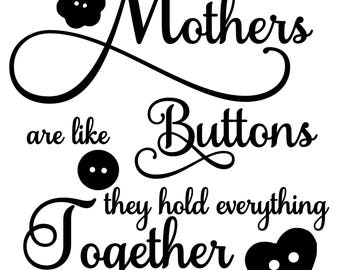 Mothers are like buttons digital download Svg, Png, Jpg, Pdf