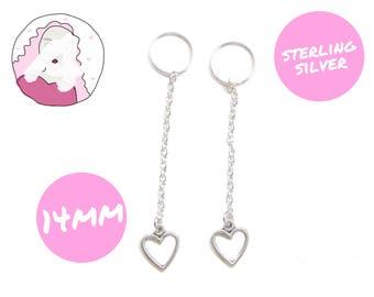 silver heart drop earrings - silver heart dangle earrings - long heart earrings - silver heart earrings - silver heart jewelry