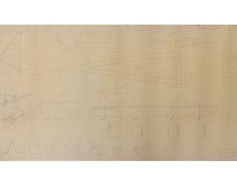 Vintage Airplane Blueprint / 1978 Woodstock Model Plane Blueprint / Blueprint Art / Architectural Blueprint / Unique Office Decor Blue Print