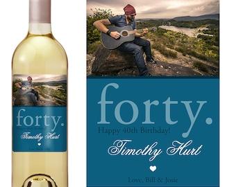 40th Birthday Wine Label - Personalized Wine Label - Custom Wine Label - Photo Wine Label - Milestone Birthday