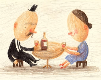 First date / Original Pencil Drawing - Romantic evening / Drinking wine / Man and woman / Children illustration / Pencils drawing