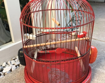 Antique Red Bird Cage with Porcelain Feeders
