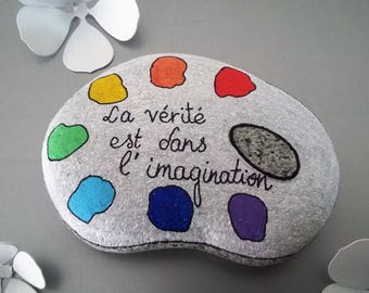 """Painter's palette"" hand painted Pebble"