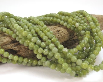 Green Serpentine Beads, Natural Green 4mm Green Beads, 16 inch Strand, Green Gemstone Beads, Beading Supplies, Item 931pm