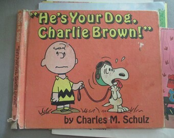 Vintage Children's Book Jackets/Covers. Charlie Brown He Your Dog.Journal Ephemera.Junk Journal.Paper Ephemera. Book Covers. Snoopy Dog