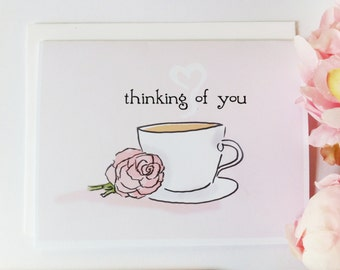 Cards. Thinking of You. Thinking of You Card. Cards for Coffee Lovers. Miss You Cards for Women