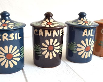 Set Of 4 Vintage French Spice Jars Pots Canisters Kitchen Food Storage  Rustic Terracotta From Alsace