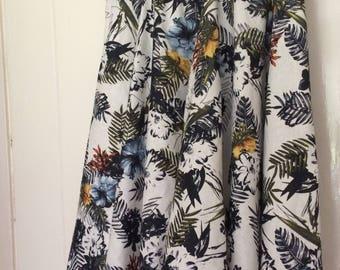 Hand Made Floral Mid-Length Skirt - Floral Circle Skirt - Flora Full Skirt Knee Length - Hand made 50s Style Skirt Full Skirt