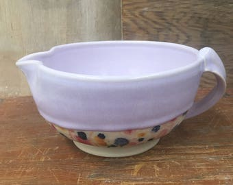 Batter Bowl in Color Changing Gkaze with Wildflower Design - Wheel Thrown Porcelain Bowl in Pink Purple Blue