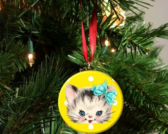 """Yellow Polka Dot Vintage Cat with bow Image Christmas Tree 2.25"""" Ornament"""