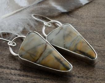 Gemstone Earrings. Picasso Marble Sterling Silver Earrings. Picasso Marble Earrings. Cabochon Silver Jewelry. Triangle Earrings