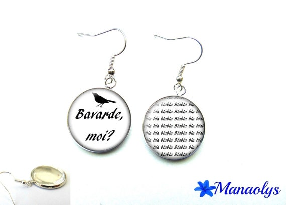 Silver earrings studs glass chat, message, phrase, humor 2863