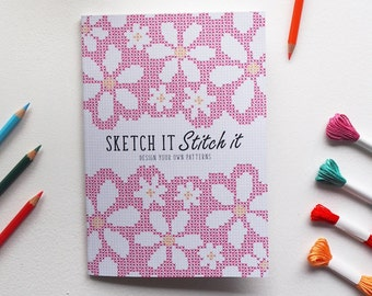 A5 Sketch it Stitch it book (Pink) - Design your own crafty patterns!