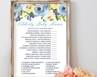 Celebrity Baby Name Game, Baby Shower Game, Floral Baby Shower Games, Shower Games, Boho Baby Shower, Baby Shower Invitation, Girl Baby