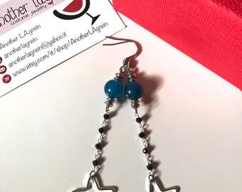 Stars earrings, agate earrings, blue earrings, big stars earrings, rosary chain earrings