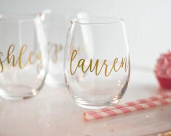 Bridesmaid Gift, Bridesmaid Wine Glasses, Personalized Stemless Glass, Personalized Wine Glass (BR053)