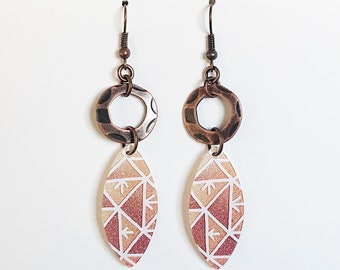 Upcycled Gift Card Earrings - Pink/Orange Leaves and Copper Hoops