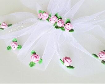 Crochet pink roses Crochet rose flower Mini pink rose Pink rose applique Pink mini flower Roses for your craft Flower crochet motif Set of 5