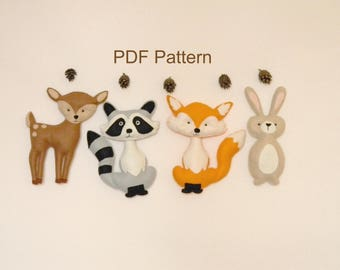 Woodland Animals PDF pattern Felt Hand Sewing Fox Raccon Deer Bunny Plushie Pattern Stuffed Animal Patterns Instant Download PDF