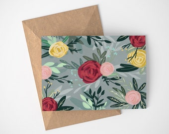 Grey Floral Card, Garden Card, Pretty Note Cards, Thank You Cards
