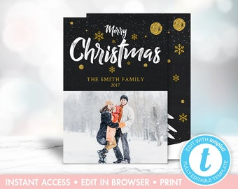 Christmas Photo Card, Black, Gold, White, Glitter, Christmas Tree, Instant Download, Editable, Upload Your Own Photo