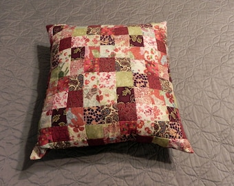 Red Multicolored Throw Pillow 16x16 - Insert Included
