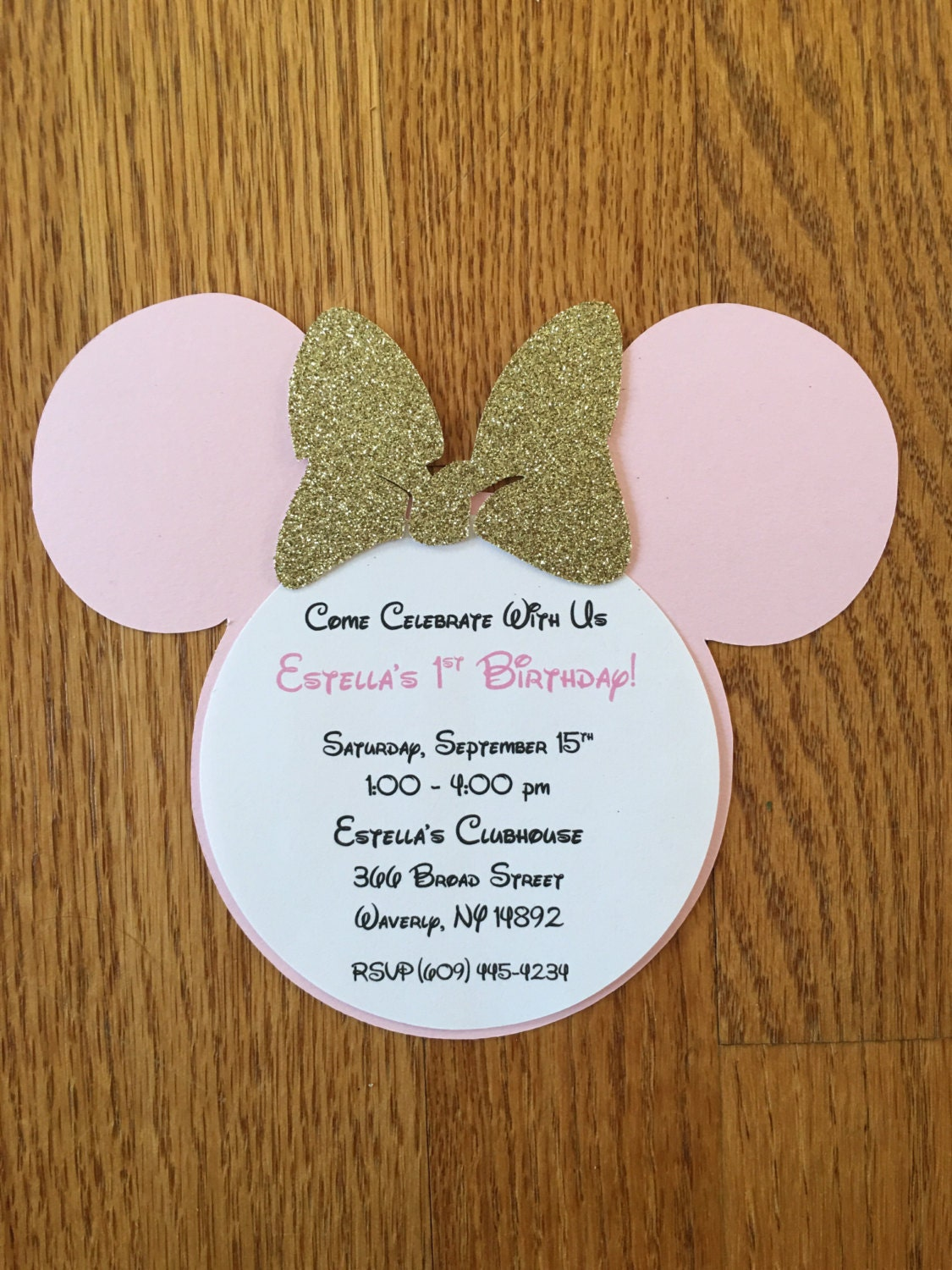 Handmade Minnie Mouse Pink Gold Glitter Invitations Minnie