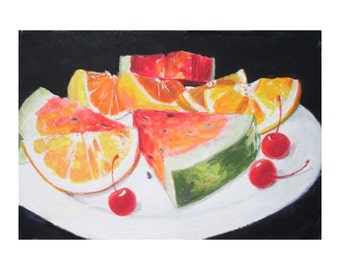 Original Painting * FRUIT SLICES * Watermelon * Oranges * Small Art Format By Rodriguez