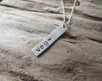Veg Vegetarian or Vegan Pendant- Veggies Leaf Aluminum Hand Stamped Pendant Necklace on Chain