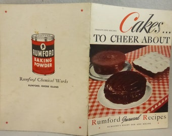Vintage Cook Booklet Cakes to Cheer About from Rumford Insured Recipes