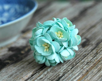 10 pcs . Ice Blue Cherry Blossoms . Small Paper Flowers Wedding Paper Flowers . Mulberry Millinery Flowers . Paper Flowers with Stems
