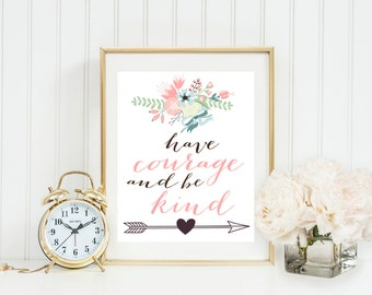 Have Courage and Be Kind, Disney, Cinderella, Baby Girl Nursery, Wall art, Pink, green, blue wreath,Inspirational, Gray Frames digital print
