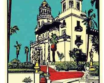 Vintage Style San Simeon California Hearst Castle   Travel Decal sticker