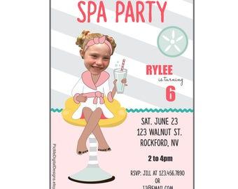 Spa Party Birthday Invitation, Spa Party Photo Invitation, Photo Invitations, Custom Invitation