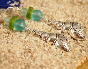 Recycled Sea Glass Earrings Conch Shell Charm Earrings Conch Shell Dangle Pierced or Clip-on Earrings Beach Jewelry Sea Glass Jewelry